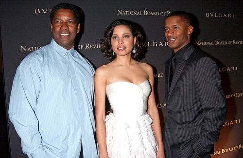 Denzel Washington, Jurnee Smollett, Nate Parker at 2008 National Board of Review of Motion Picture Awards Gala, Cipriani Restaurant 42nd Street, New York, January 15, 2008 (Everett Collection / Shutterstock.com)