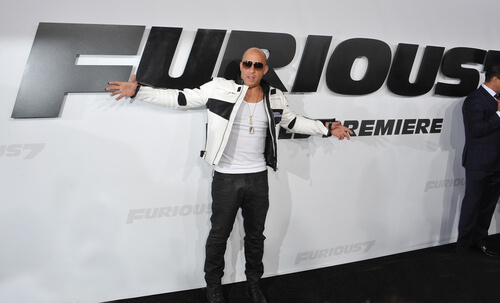 LOS ANGELES, CA - APRIL 1, 2015: Vin Diesel at the world premiere of his movie